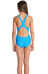speedo Endurance10 Monogram Allover Splashback Swimsuit Girls neon blue/bali blue